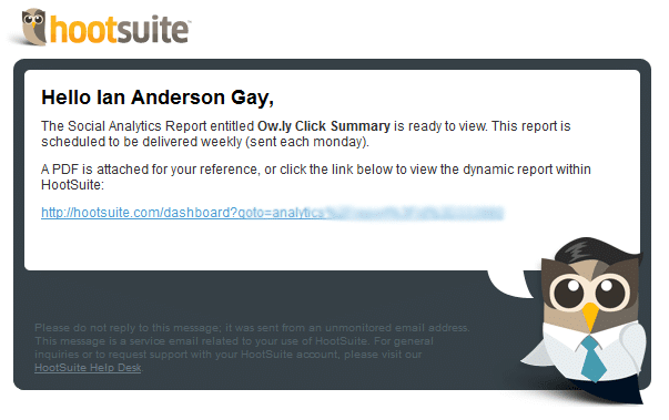 hootsuite email report